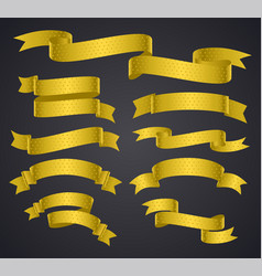 set of yellow curved ribbon or banner vector image