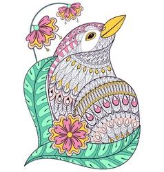 Zentangle exotic bird in colorful flowers Hand vector image vector image