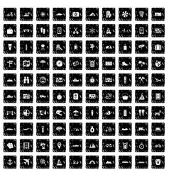 100 travel icons set grunge style vector image