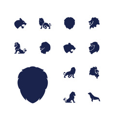 13 lion icons vector