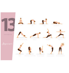 13 yoga poses for beginners vector image