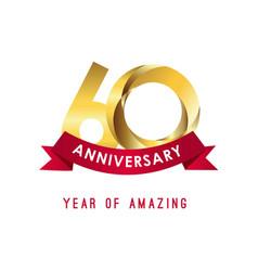 60 year anniversary year amazing template vector