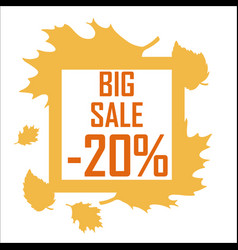 a big autumn sale of twenty percent surrounded by vector image