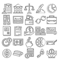 accounting day icon set outline style vector image