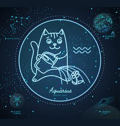 Astrology neon aquarius zodiac sign funny cat vector