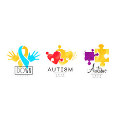 Autism and down syndrome awareness logo templates vector