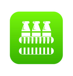 bottles milk icon green vector image
