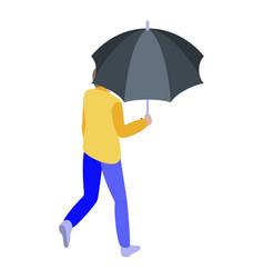 Boy with umbrella icon isometric style vector