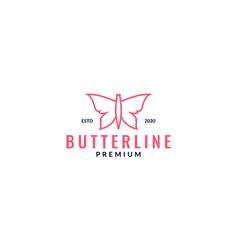 Butterfly line minimalist unique pink logo design vector
