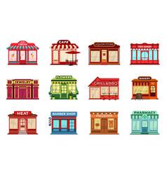 Cartoon flat shop facades different stores local vector