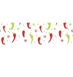 Chili peppers red and green horizontal seamless vector image