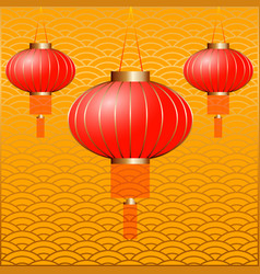 Chinese new year 2019 chinese lanterns yellow vector