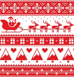Christmas jumper or sweater seamless red pattern vector image