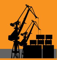 Coal harbor crane - wharf crane silhouette vector