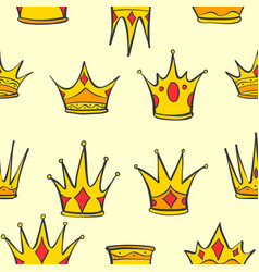Collection crown gold style vector