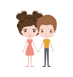 Colorful caricature thin couple of man and woman vector
