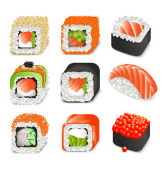 colorful realistic japanese food icons set vector image