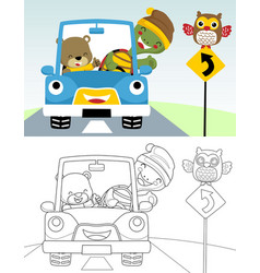 Coloring book or page funny car cartoon with vector