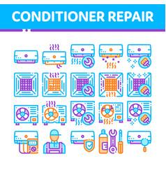 Conditioner repair thin line icons set vector