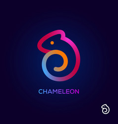 Creative chameleon logo design icon colorful vector