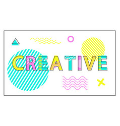 Creative poster geometric figures in linear style vector