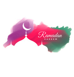 Creative watercolor ramadan kareem greeting design vector