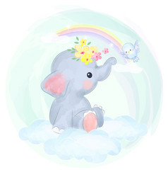 Cute baby elephant playing with bird in sky vector