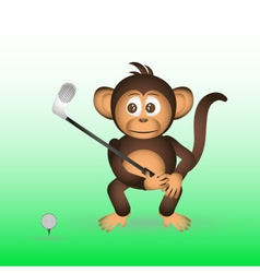 cute chimpanzee playing golf sport little monkey vector image