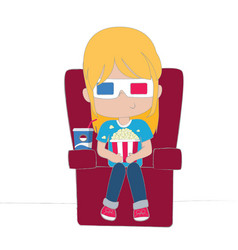 cute girl watching movie wearing 3d glasses vector image