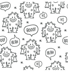 cute monsters doodles seamless pattern vector image