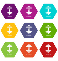 dumbbell icons set 9 vector image