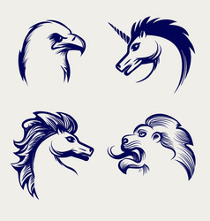 engraving style animal heads design vector image