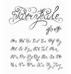 Fairytale hand drawn calligraphic font vector image