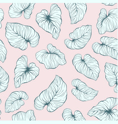 Falling palm leaves repeat seamless pattern vector