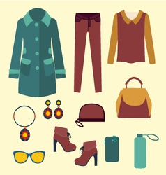 Fashion look flat accessories for women vector