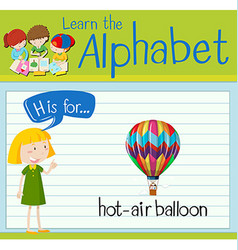Flashcard letter H is for hot-air balloon vector