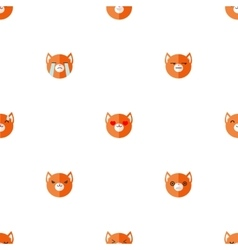 Flat cartoon fox heads with different vector