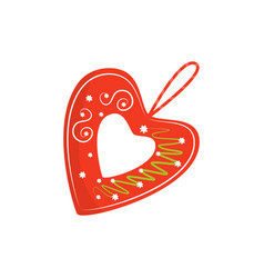 Flat icon of bright red licitar heart vector