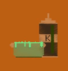 Flat shading style icon pixel hotdog and ketchup vector