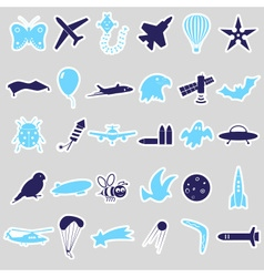 Flying theme symbols and stickers set eps10 vector