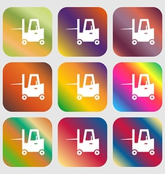 Forklift icon Nine buttons with bright gradients vector
