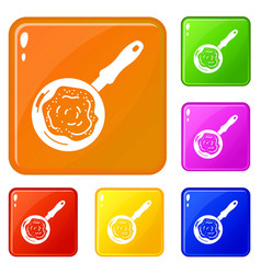 Fry pan icons set color vector