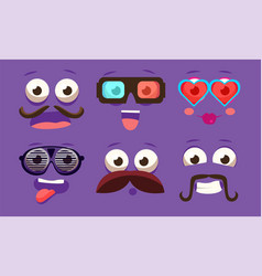 funny emojis with different emotive feelings set vector image