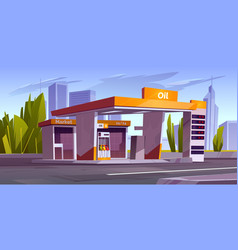 gas station with oil pump and market in city vector image