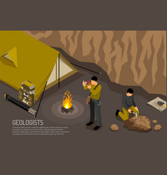 Geologist camp isometric vector