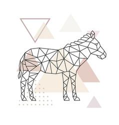 geometric zebra polygonal zebra vector image