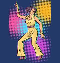 Girl in pantsuit woman disco dance 80s background vector