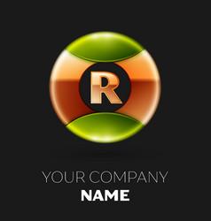 golden letter r logo symbol in golden-green circle vector image