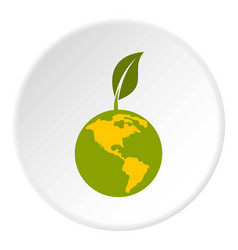 Green planet icon circle vector