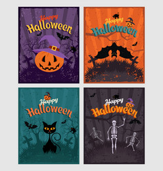 halloween invitation or greeting cards set set of vector image